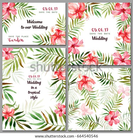 Set greeting cards frame seamless pattern stock illustration set with greeting cards frame seamless pattern with watercolor tropical flowers and leaves m4hsunfo