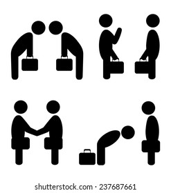 Set of greeting etiquette business situation icons isolated on white