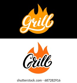 Set of grill hand written lettering logo, label, madge or emblem with fire. Isolated on background.  - Shutterstock ID 687282916