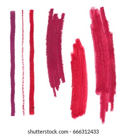 Set of grunge brush make up swatches. Red lipstick brush strokes set. Rose paint spots isolated on white background.