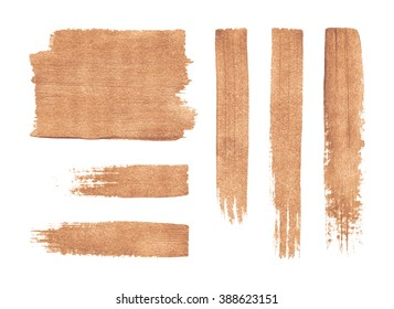 Set of grunge brush strokes. Copper texture. Acrylic paint.