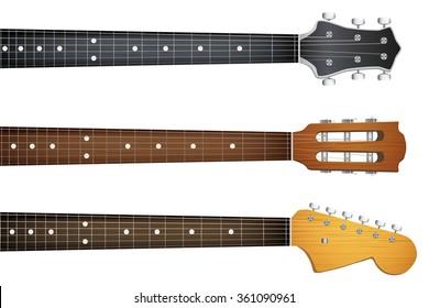 Set of Guitar neck fretboard and headstock.  Illustration isolated on white background.