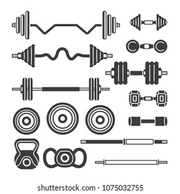 Set of gym equipment - modern monochrome isolated clip art isolated on white background. Barbells, power lifter, hand weights. Fitness, sport, power, healthy lifestyle concept. Vintage style