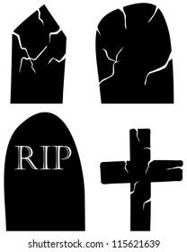 Set of halloween black grave elements.Raster version.