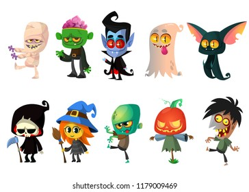 Set of Halloween cartoon characters. Mummy, zombie, vampire, ghost, bat, death, witch, pumpkin head. Great for party decoration