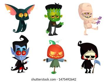 Set of Halloween characters. Cummy, zombie, vampire,  bat, death grim reaper, pumpkin head. Design great for party decoration or sticker