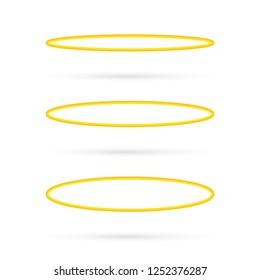 Set Halo angel ring . Holy golden nimbus circle isolated on white background.  stock illustration.