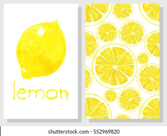 Set of hand drawing cards. Watercolor illustration. Lemon. Yellow. Citrus. Wedding, invitation, decor.