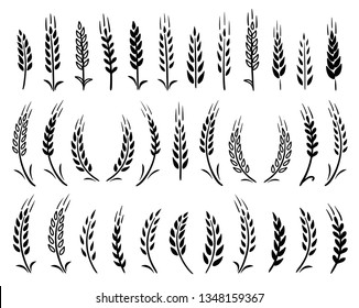 set of hand drawn black wheat ears icons on white background