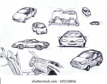 Set of hand drawn cars,  sketch illustration design