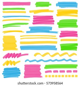 Set of hand drawn colorful highlighter stripes, strokes and marks. Can be used for text highlighting, marking or coloring in your designs. Rasterized copy.