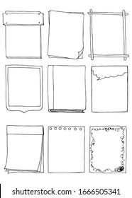 Set of hand drawn doodle frames. Vector illustration