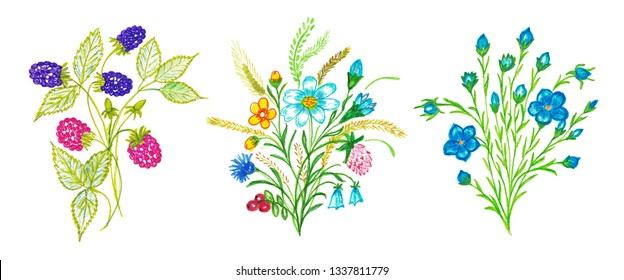 Set of Hand Drawn Flowers and Berries. Cute Illustration for Your Design.