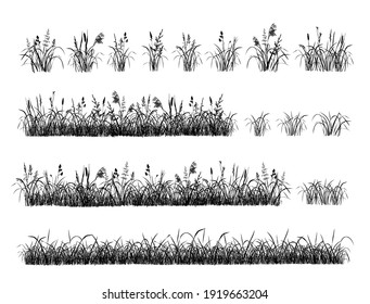 Set of hand drawn grass. Separate tufts of grass, compact lawns. Black silhouettes isolated on white background. Illustration, brushes.