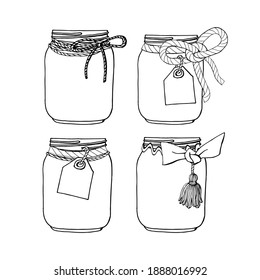 Set of hand drawn mason jars with bows and tags. Stock illustration