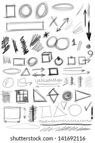 Set hand drawn shapes, line, circle, square, triangle