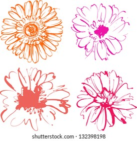 Set of hand drawn sketched flowers
