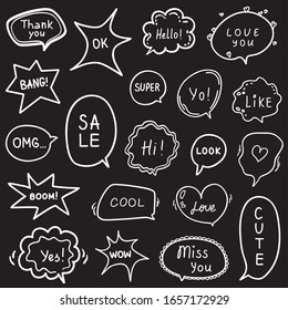 Set of hand drawn speech bubbles with different words. Abstract outlined speech bubble. Black and white illustration