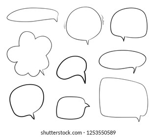 Set of hand drawn think and talk speech bubbles. Abstract symbols on white. Pattern of loot for words. Line art. Collection of different signs. Black and white illustration
