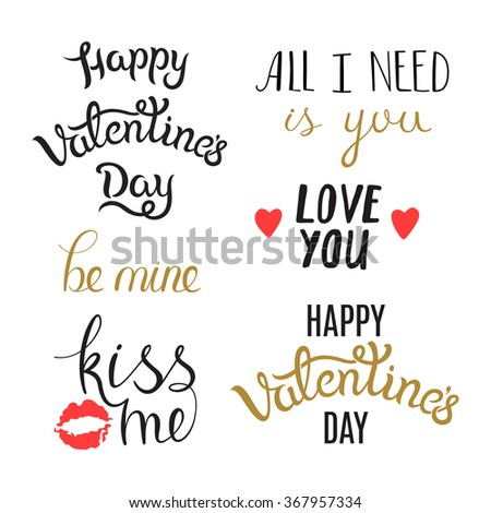 set of hand drawn valentine day phrases lettering elements isolated on white background awesome