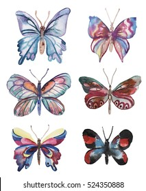 Set with hand drawn watercolor butterflies elements.