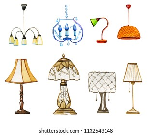 Set of hand drawn watercolor decorative lamps and lampshades on white background. Template for prints, cards and paper doll houses