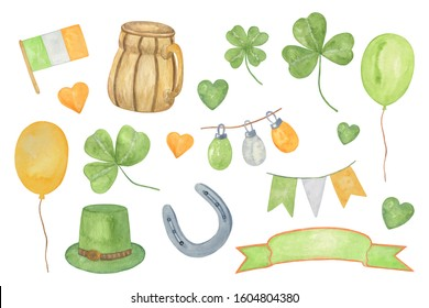 A set of hand drawn watercolor elements, symbols of spring Irish holiday, St Patrick's day, illustration for greeting cards, holiday decorations, simple seasonal ornament