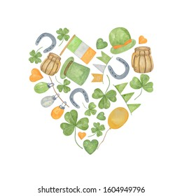 A set of hand drawn watercolor elements in the form of heart, symbols of spring holiday, St Patrick's day, illustration for greeting cards, holiday decorations, simple seasonal ornament