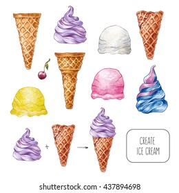 Set of hand drawn watercolor ice cream. Watercolor illustration for restaurant menu. Cartoon, isolated. Create ice-cream. Vanilla, white, pink, strawberry, yellow, banana, purple.