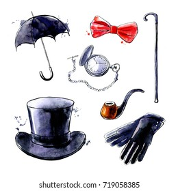 Set of hand drawn watercolor illustrations Gentleman. Umbrella, bow tie, clock, pipe, gloves, top hat and cane isolated on white. Black ink outline and bright texture with splashes and drips