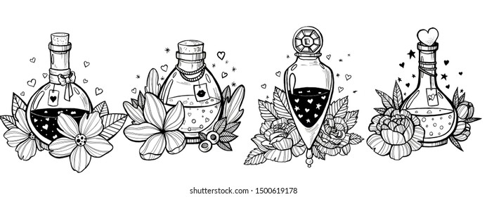 Set of hand drawn whimsical bottles with love potion. Cute illustration for St. Valentine's Day