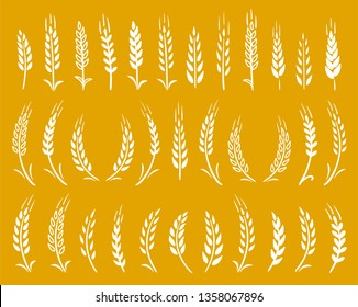 set of hand drawn white wheat ears icons on yellow background