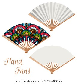 Set of hand fans. Decorative fans isolated on white background