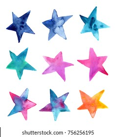 set of hand made watercolor stars / artistic painted elements isolated on white background