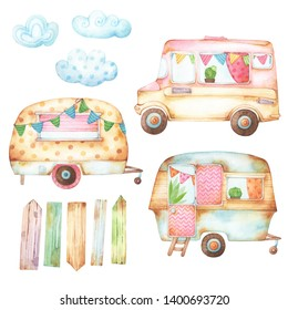 Set of hand painted watercolor cartoon style travel and camping themed illustrations of retro rusty caravans, clouds and wooden pallets