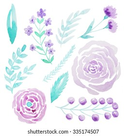 Set of hand painted watercolor flowers, leaves and branches. Isolated objects on a white background. Violet floral clip art perfect for card making and DIY project