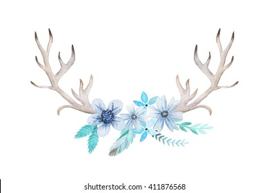 Set of hand painted watercolor flowers, leaves, antlers and feather in rustic style. Boho rustic composition perfect for floral design projects