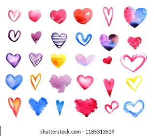 Set of hand painted watercolor hearts. Collection of hand drawn various hearts isolated on white background. Print for Valentine's Day card, Wedding invitation,romantic post cards template, design.