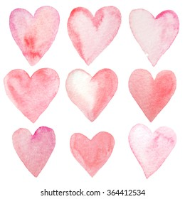 Set of hand painted watercolor hearts. Isolated objects perfect for Valentine's day card or romantic post cards