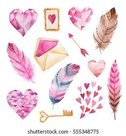 Set of hand painted watercolor hearts, envelopes, key and feathers in bright pink color. Isolated objects perfect for Valentine's day card or romantic post cards