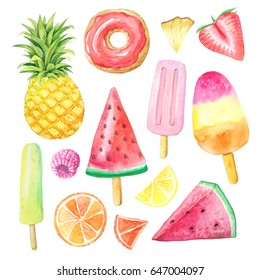 Set of hand painted watercolor summer fruits, donut and icacream. Pineapple, watermelon, citrus, strawberry. Exotic fresh collection isolated on white background