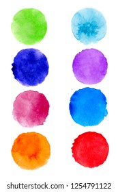 Set of hand painted watercolor textured round backgrounds isolated on white. Collection of multicolor brush strokes.
