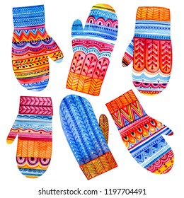 Set of hand painted watercolor winter mittens. Bright patterns and paintings for the cold winter.