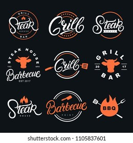 Set of hand written lettering badges, labels and logos for restaurant, foods shop, steak house, grill and barbecue.