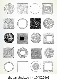 set of hand-drawn circles and squares used for frames, banners, buttons or web design - raster version of vector illustration