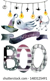 Set of hand-drawn elements painted in watercolor. Watercolor halloween collection. Artistic autumn constructor clip art. In the picture: garland, cast, dog skeleton, sign, witch hat, Boo inscription.