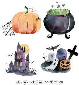 Set of hand-drawn elements painted in watercolor. Watercolor halloween collection. Artistic autumn constructor clip art. In the picture: cauldron, potion, pumpkin, castle, cemetery, Ghost, grave.
