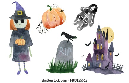 Set of hand-drawn elements painted in watercolor. Watercolor halloween collection. Artistic autumn constructor clip art. In the picture: cartoon witch, watercolor pumpkin, grave, castle and skeleton