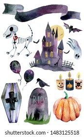 Set of hand-drawn elements painted in watercolor. Watercolor halloween collection. Artistic autumn constructor clip art. In the picture: dog skeleton, castle, Ghost, candle, pumpkin, coffin, balloon,