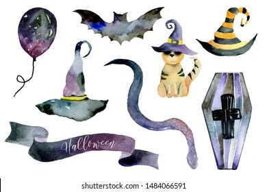Set of hand-drawn elements painted in watercolor. Watercolor halloween collection. Artistic autumn constructor clip art. Bat, hat, witch hat, balloon, snake, striped hat, coffin, banner boykotaart.